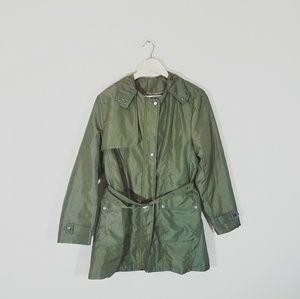 Jackets & Blazers - Army Green Hooded Zip Up Spring / Rain Jacket